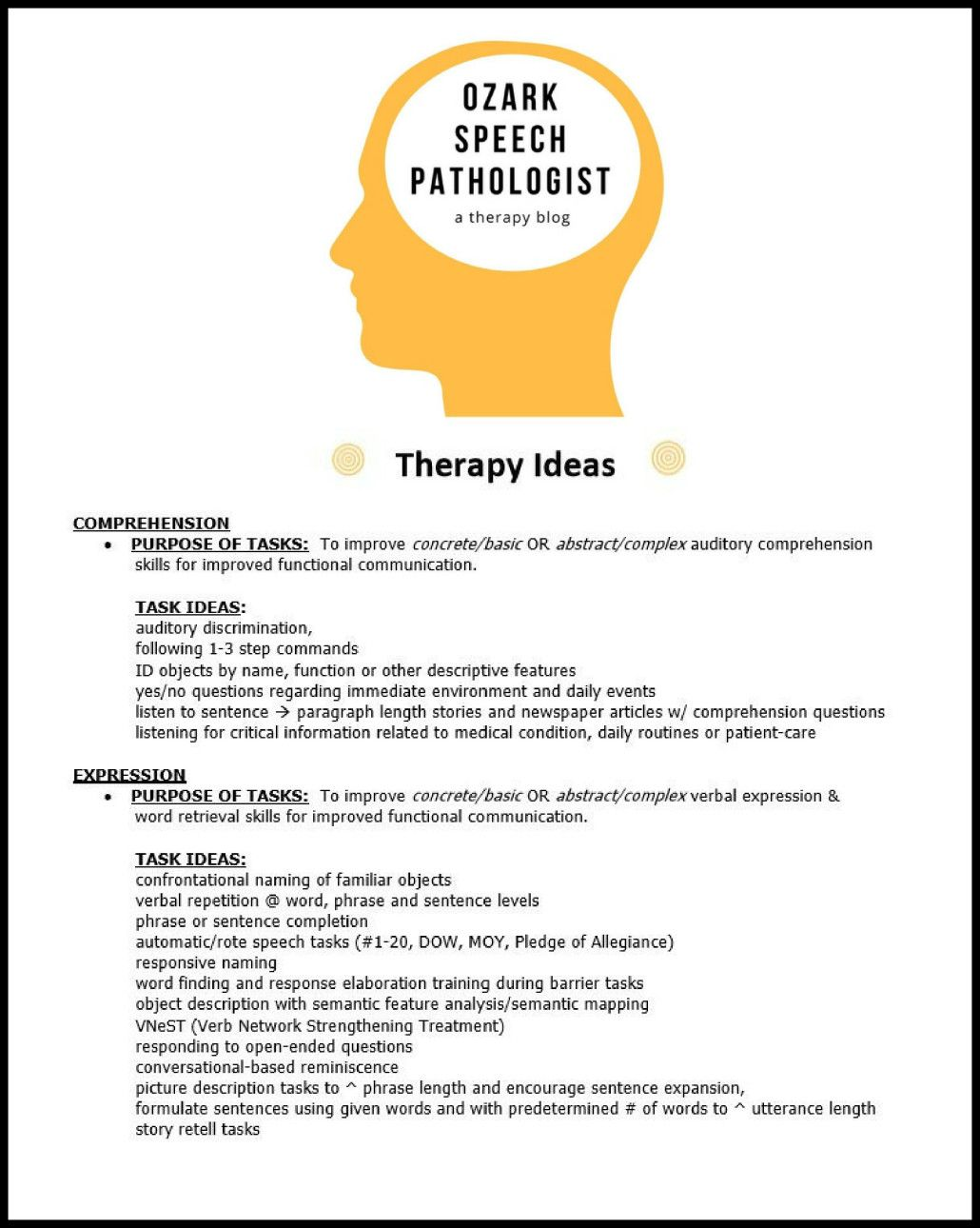 Adult speech therapy ideas