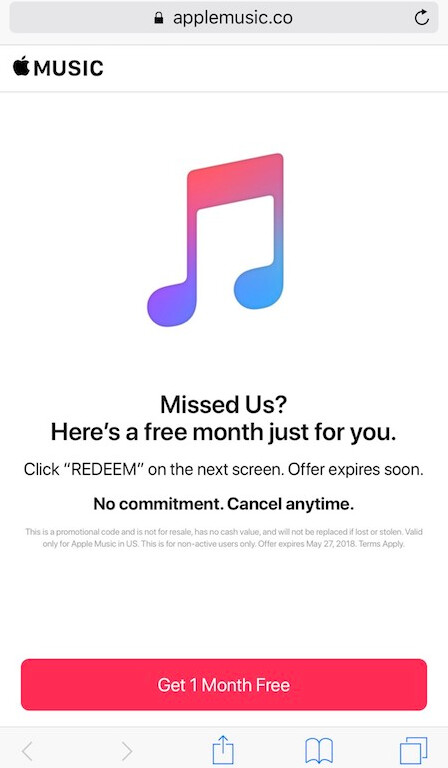 Free 4 months of apple music