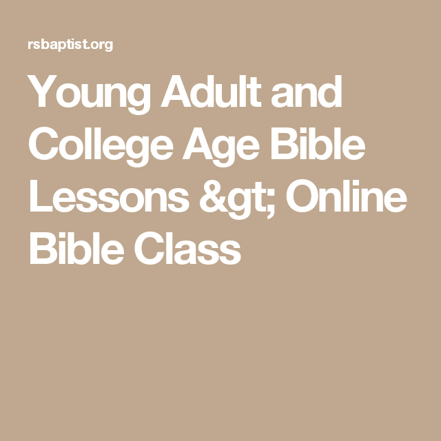 Young adult sunday school lesson